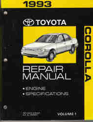 1993 Toyota Corolla Factory Service Manual - 2 Vol. Set