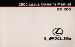 2000 Lexus RX 300 Owner's Manual