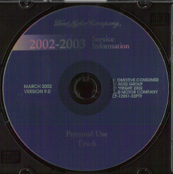 2002 - 2003 Ford Personal Use Truck Factory Service Information DVD-ROM