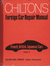 1959 - 1971 Chilton's Foreign Car Repair Manual- French, British, & Japanese Cars Edition