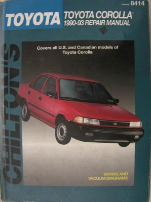 1990 - 1993 Toyota Corolla, Chilton's Total Car Care Manual