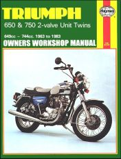 1963 - 1983 Triumph 650, 750 2-Valve Twins Haynes Repair Manual