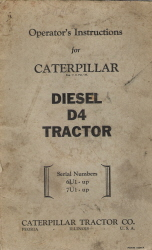 Caterpillar Diesel D4 Tractor Operator's Instructions