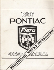 1986 Pontiac Fiero Preliminary Service Manual
