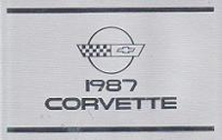 1987 Chevrolet Corvette Factory Owner's Manual