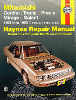 1983 - 1993 Mitsubishi Cordia, Tredia, Precis, Mirage and Galant Haynes Repair Manual