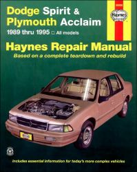 1989 - 1995 Dodge Spirit & Plymouth Acclaim, Haynes Repair Manual