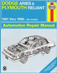 1981 - 1989 Dodge Aries & Plymouth Reliant Repair Manual