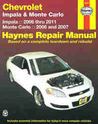 2006 - 2011 Chevrolet Impala & Monte Carlo Haynes Repair Manual