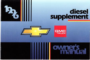 1996 GMC Truck Diesel Supplement Owner's Manual