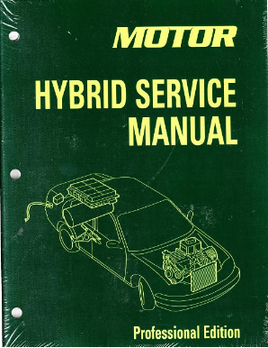 2005 - 2013 MOTOR Hybrid Service Manual, Professional Edition