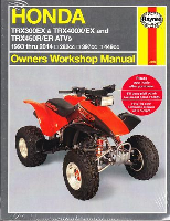 1993 - 2014 Honda TRX300EX, TRX400EX, TRX450R, TRX450ER Haynes ATV Owners Workshop Manual