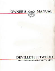 1989 Cadillac Deville & Fleetwood Owners Manual