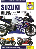 2000 - 2003 Suzuki GSXR600, GSXR750, GSXR1000 Haynes Repair Manual