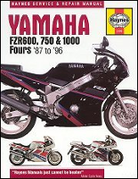 1987 - 1996 Yamaha FZR600, FZR750, FZR1000 Haynes Repair Manual