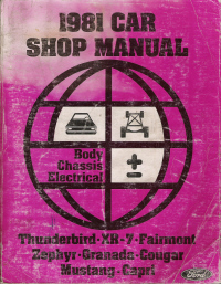 1981 Ford Thunderbird, XR-7, Fairmont, Zephyr, Granada, Cougar, Mustang Shop Manual - Body, Chassis, Electrical