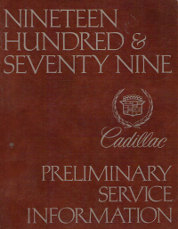 1979 Cadillac Service Manual Preliminary