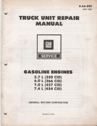 1981 GM Truck Unit Repair Manual - Gasoline Engines