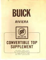1982 Buick Convertible Top Supplement