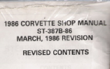 1986 Chevrolet Corvette Shop Manual Revision