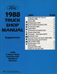 1988 Ford Truck Factory Shop Manual Supplement - 1989 F-Super Duty Commercial Stripped Chassis