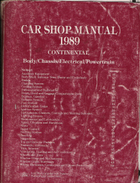 1989 Lincoln Continental Body, Chassis, Electrical & Powertrain Shop Manual