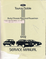 1992 Ford Taurus & Mercury Sable Body, Chassis, Electrical & Powertrain Service Manual