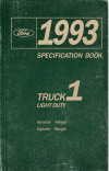 1993 Ford Aerostar, Villager, Explorer, Ranger Truck Light Duty Specification Book