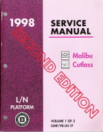 1998 Chevrolet Malibu Oldsmobile Cutlass Service Manual - 3 Volume Set