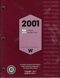 2001 Chevrolet Impala and Monte Carlo Service Manual - 3 Volume Set
