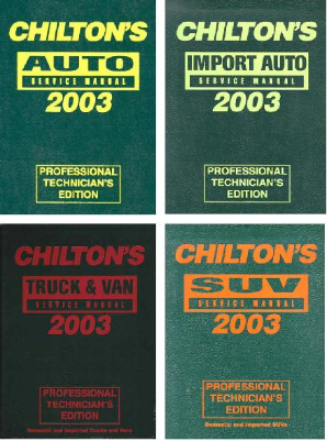 1999-2003 Chilton's Service Manuals- 4 Volume Set