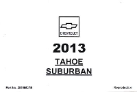 2013 Chevrolet Tahoe Suburban Owner's Manual