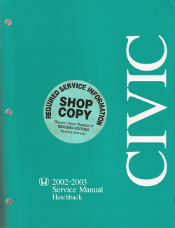 2002 - 2003 Honda Civic Hatchback Factory Service Manual