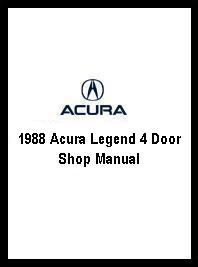 1988 Acura Legend 4 Door Shop Manual - 2 Vol. Set