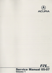2005 - 2007 Acura RL Factory Service Manual - 2 Volume Set