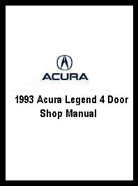 1993 Acura Legend 4 Door Shop Manual