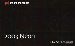 2003 Dodge Neon Factory Owner's Manual