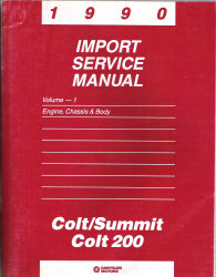 1990 Dodge Colt, Summit & Colt 200 Import Service Manual - 2 Volume Set