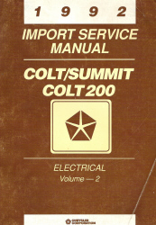 1992 Chrysler Colt, Summit, and Colt 200 Factory Service Manual - 2 Volume Set