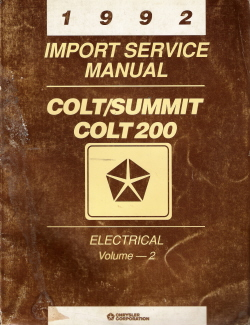 1992 Colt/Summit Colt 200 Electrical Import Service Manual Volume - 2