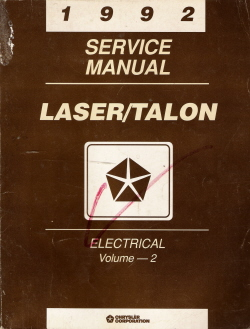 1992 Plymouth Laser / Eagle Talon Electrical Service Manual Volume - 2
