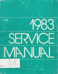 1983 Dodge Colt Factory Service Manual