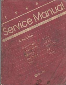 1984 Chrysler / Dodge / Plymouth  Front Wheel Drive Passenger Vehicles Service Manual