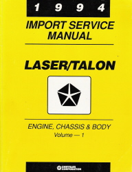 1994 Plymouth Laser & Eagle Talon Factory Service Manual - 2 Vol. Set