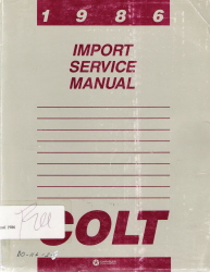 1986 Dodge Colt Factory Service Manual