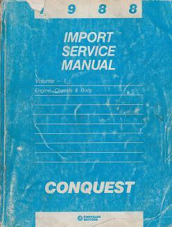 1988 Chrysler / Dodge / Plymouth Conquest Import Service Manual - 2 Volume Set