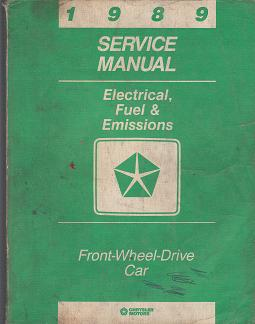 1989 Chrysler Electrical, Fuel & Emissions Front Wheel Drive Car Factory Service Manual