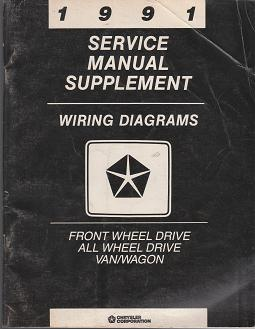 1991 Dodge Front Wheel Drive All Wheel Drive Van / Wagon Wiring Diagrams Service Manual Supplement