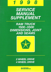 1998 Dodge Ram Truck 1500 - 3500 Dimensions, Joint, and Seams Service Manual Supplement