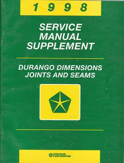 1998 Dodge Durango Dimensions, Joints and Seams Service Manual Supplement
